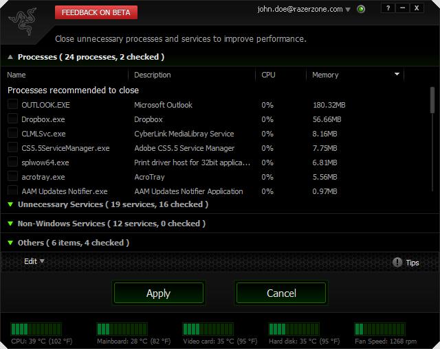 скриншот razer game booster