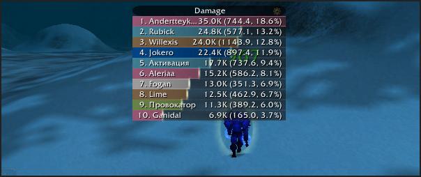 скриншот Skada Damage Meter
